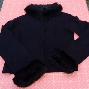 Womens cardigan black with faux fur trim